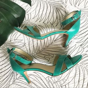 Kelly & Katie • Green Vegan Leather Strappy Heels